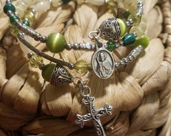 Green cats eye,  malachite, Saint Jude Thaddeus , memory wire, wrap bracelet, Patron of impossible causes