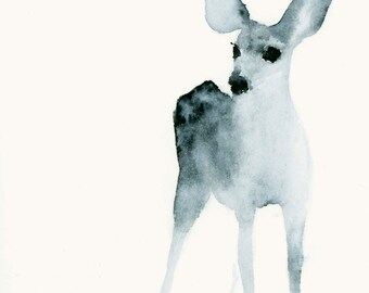 Ghost Fawn Listening Fine Art Print from Original Watercolor Painting