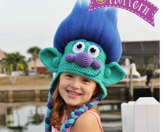 Trolls Happy Branch Crochet Hat PDF Pattern, Crochet Hat Pattern, Trolls Movie Happy Branch Hat, Trolls Toddler Boy Crochet hat,