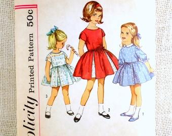 Vintage Simplicity 4243 Girls 1960s dress pattern inverted pleat tulip sleeve size 6 full Skirt church flower girl party dress
