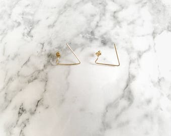 Triangle Studs, Gold Triangle Studs, Gold Line Earrings, Minimal Studs, Simple Triangle Earrings, Triangle Line Studs, Gold Geometric Studs