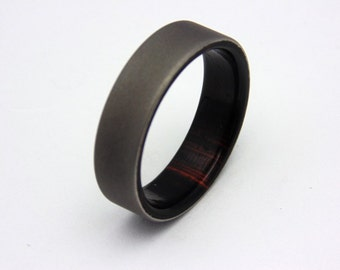 Sandblasted Titanium and E.India Rosewood wood wedding band, Bentwood Lining, Gift for Him