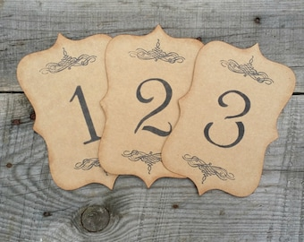 Rustic Wedding Kraft Table Number Cards, Distressed Tags, Rustic Table Numbers, Rustic Wedding Centerpiece, Set of 5
