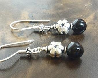 Silver Flower Earrings, Sterling Silver Earrings, Black Earrings, Onyx Earrings, Silver Beads Earrings, Antiqued Earrings, Gift for Her