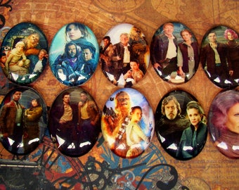 Star Wars Fan Art Mix (L40) Heroes, Art, Jewelry Craft Supply, 10 Pieces, Digital Image Under Glass Cabochon