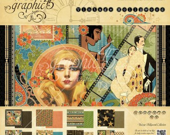 "Graphic 45 ""Vintage Hollywood"" 12 x 12 Paper pad Cardstock Collection"