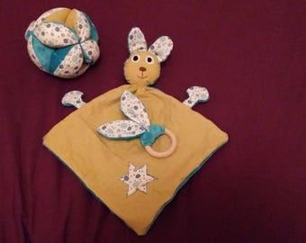 Birthstone boy grasping toy rattle ball gift box