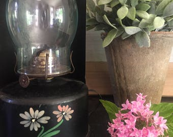 Vintage Black Kerosine Lantern with Tole Flower Design Farmhouse Wall or Tabletop Decor