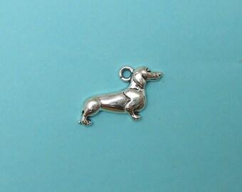8 Silver Dachshund Charms silvertone wiener dog charm doxie dog charm