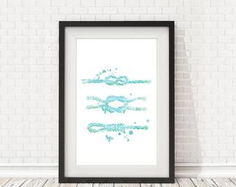 Sailor Knots Print, Nautical PRINTABLE, Nautical knots, Marine Knots Poster, Seaside Prints, Marine Wall Decor, Nautical art, Summer decor