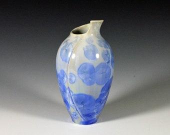 Sunny Blue Crystalline Glazed Fold Vase