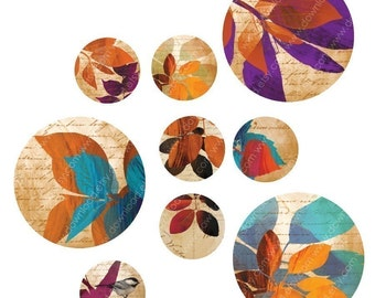Botany 1 inch Circles, Digital Collage Sheet, Download and Print Jpeg Images