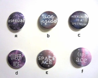 """Asexual Pride 1"""" Pinback Buttons - 6 Designs!"""