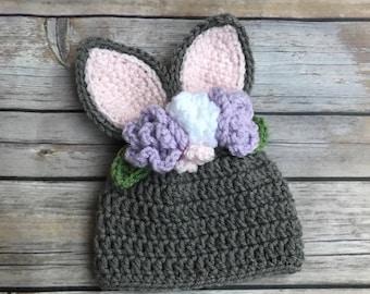Knitting Pattern Rabbit Hat : Rabbit beanie etsy