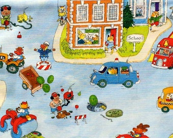 Busy Town scenic light blue Richard Scarry VIP Cranston fabric 1 yard or more