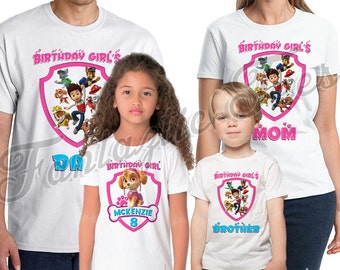 Paw Patrol Shirt Add Name & Age Paw Patrol Birthday Shirt Birthday Party TShirt Personalized birthday Girl Family shirts