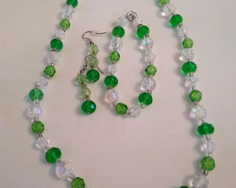 3 Piece Handmade Jewelry Set of Green and Clear Glass Beads