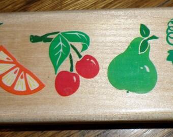 Rubber Stampede Posh Impressions Tropical Fruit Border Wooden Rubber Stamp
