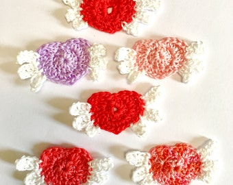 Winged Crochet Hearts,  6 Angel Hearts, Cotton Crochet Hearts, Heart Appliqués, Scrapbook, Barrettes, Wedding Hearts, Party Favors
