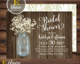 Rustic Bridal Shower Invitation - Baby's Breath Barn Wedding Shower Invite - White Floral, Mason Jar, Wood