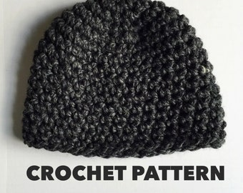 Charcoal Beanie Crochet Pattern- Womens Super Chunky Beanie Pattern Crochet- Mens Easy Beanie Crochet Pattern- Super Bulky- Instant Download