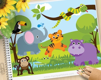 Savannah Zoo Animals Clipart, Safari, Tiger, Hippo, Monkey, Elephant, Snake, Toucan, forest, woodland, Commercial use, Vector Clipart, SVG