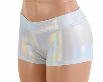 Lowrise Flashbulb Holographic Metallic Spandex Low Rise Booty Shorts 154188