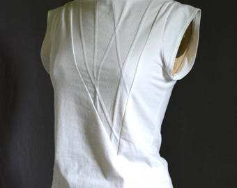 White Shirt, Geometric, Triangle Top, Cotton Jersey, short sleeve, modern style- made to order