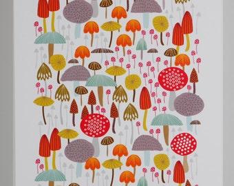 Print toadstool mushroom woodland giclee illustration A4