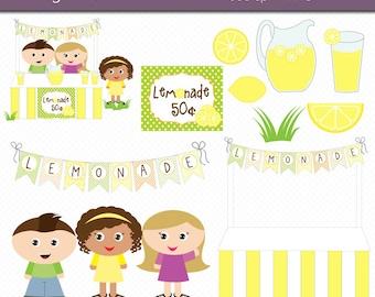 Lemonade Stand Clipart Digital Art Set Commercial Use Clip Art INSTANT Download Lemonade Stand Clipart Lemonade Clipart