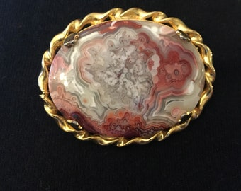 Vintage Swirled Art Glass Brooch with Gold Tone detail