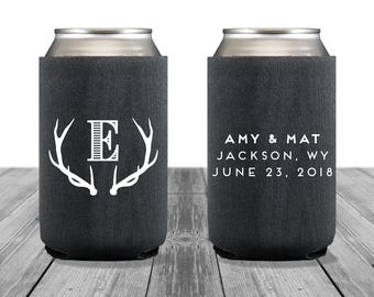 Neoprene Can Coolers, Personalized Coolies, Wedding Coolies, Bachelorette Party, Custom Hugger Wedding Can Coolers, Rustic Wedding, Antlers