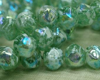 Strand of 20 Funky Peridot Splattered German Glass Beads. NGL613