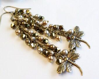 Boho Brass Earrings, Dragonfly Earrings, Antique Bronze Long Earrings, Brass Dragonfly Pearl Earrings, Long Crystal Earrings, Boho Earrings