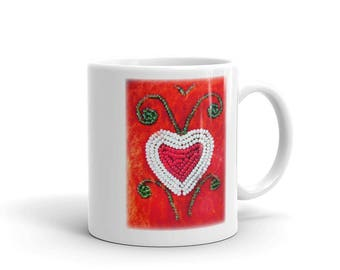 Native American Beadwork Art Heart Mug made in the USA