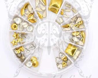3D Gold Metallic Nail Studs Nail Decoration -7 shapes