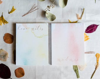 Watercolor Note Pad/Pack of 2/Love Notes/Mr. & Mrs.