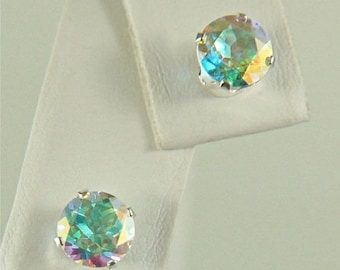 MothersDaySale Opalescent Topaz Studs 6mm 2ctw Sterling Silver Earrings Rainbow of Colors