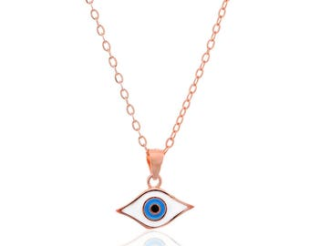 Sterling Silver Necklace Pink Gold Plated Evil Eye.