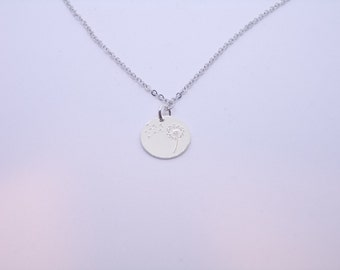 Dandelion necklace. Make a wish. 925 Sterling Silver charm. Rose Gold or Silver plated necklace. Round disc necklace. Everyday jewelry.