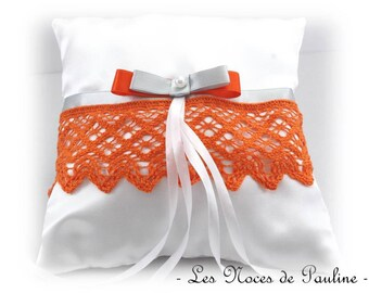 Orange and White Satin bow lace ring pillow