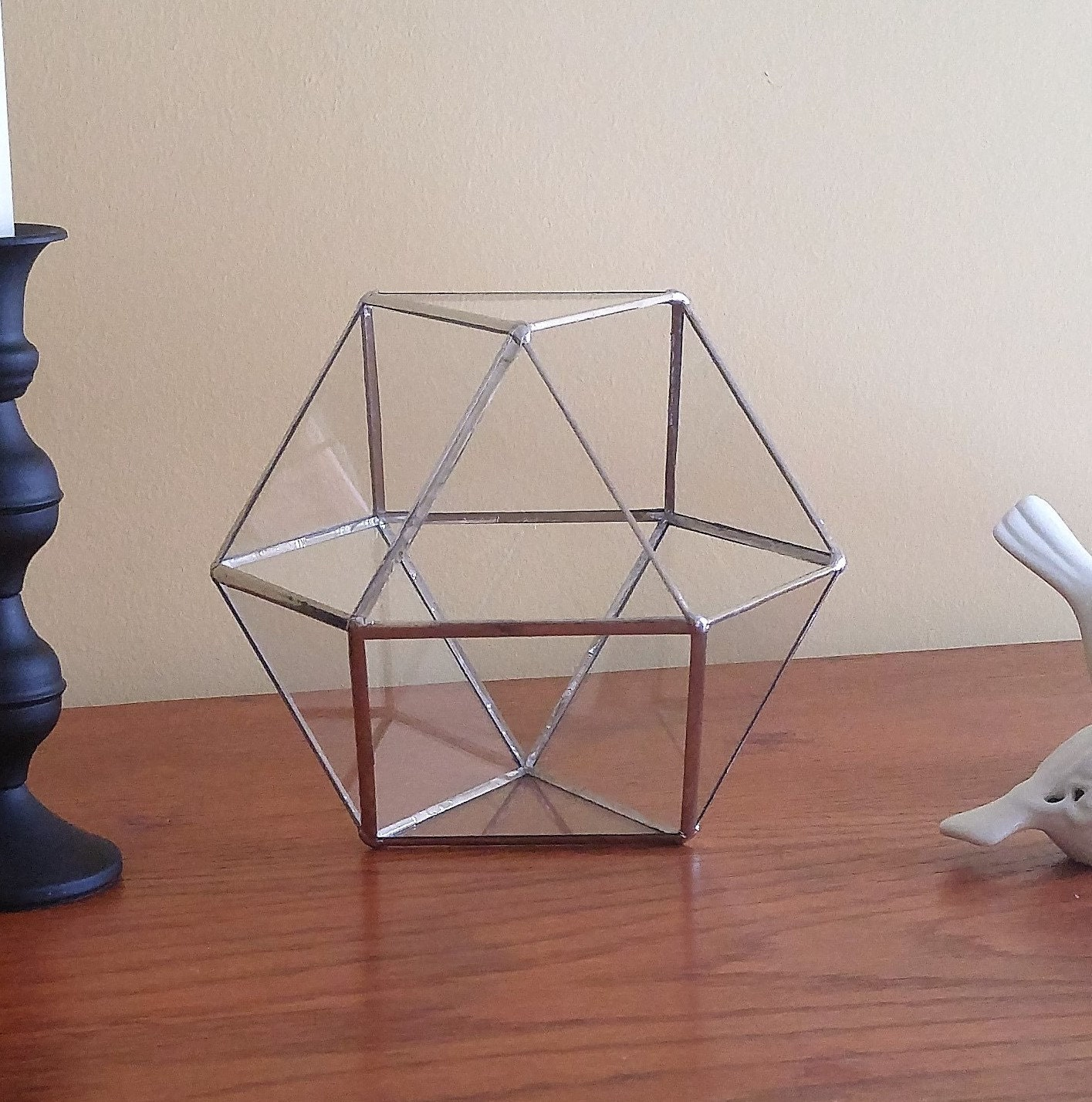 Make An Eye Catching Jewelry Stand From Plumber S Copper: Stained Glass Geometric Terrarium Silver Coffee Table Art Home