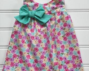 Girl Pink Floral Dress, Girl Pastel Dress, Little Girl Dress, Girl Summer Dress, Toddler Dress, Girl Sundress, Toddler Girl Clothes
