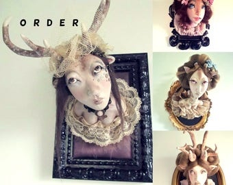CUSTOM ORDERS - Ooak Art doll Deer/unicorn doll trophy cabinet de curiosité
