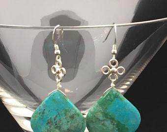 Chrysocolla Earrings, Turquoise Stone Earrings, Green Stone Earrings, Malachite Earrings, Sterling Silver Earrings, Earrings Under 125