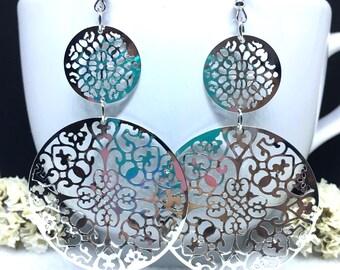 Boho Earrings, Large Silver Filigree Earrings, Silver Lace Earrings, Silver Statement Earrings, Gift for Her, Silver Flower Dangle Earrings