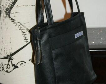 Black Crackle leather tote - bag.