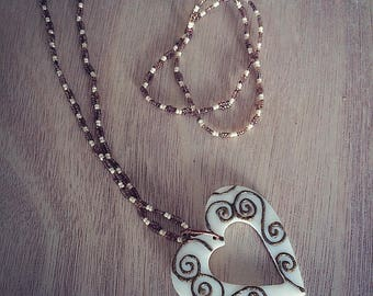 Swirly Heart Pendant Necklace and Bracelet Set