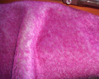 Lipstick Pink Tipped with Dark Back 16mm Straight Dense Mohair Fabric - Very Unusual