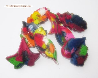Upcycled Leaf Crayons - Multi-Colored , Bag of 8 - Recycled Crayons , Party Favor , Stocking Stuffer